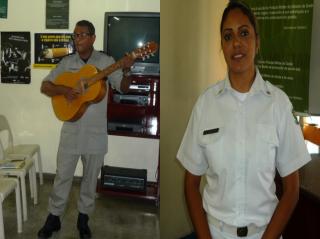 2º Tenente Gilson realiza musicoterapia para os participantes / 3º Sargento Rozângela coordena o trabalho em grupo